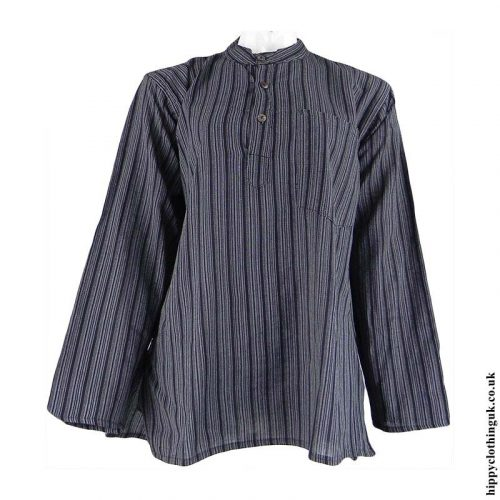 Charcoal-Nepalese-Cotton-Striped-Grandad-Shirt