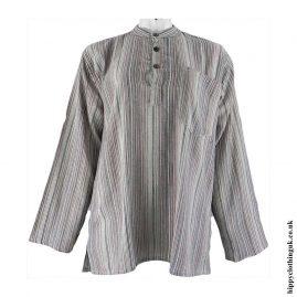 Cream-Brown-Neaplese-Cotton-Striped-Grandad-Shirt