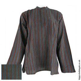Dark-Green-Nepalese-Cotton-Striped-Grandad-Shirt