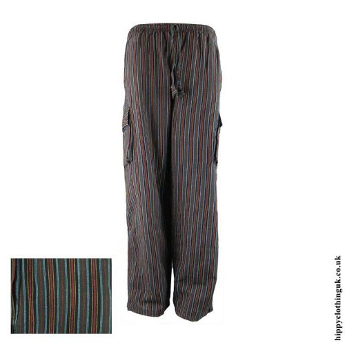 Dark-Green-Striped-Cotton-Hippy-Trousers