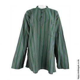 Green-Nepalese-Cotton-Striped-Grandad-Shirt