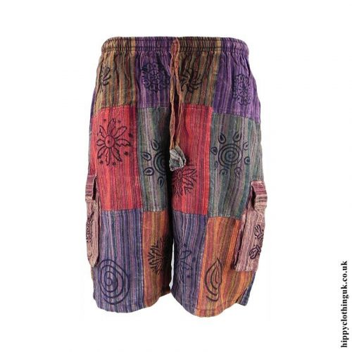 Multicoloured-Patchwork-Hippy-Shorts