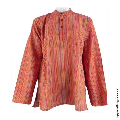 Orange-Neaplese-Cotton-Striped-Grandad-Shirt