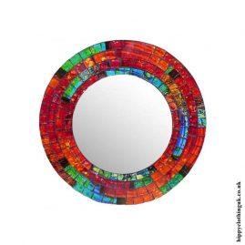 Orange-Round-Mosaic-Mirror-24cm
