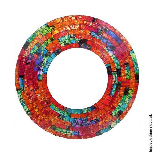 Orange-Round-Mosaic-Mirror-40cm