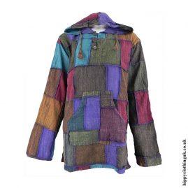 Plain-Patchwork-Hooded-Hippy-Shirt