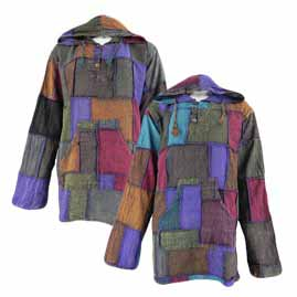 Gringo Plain Hooded Patchwork Tops