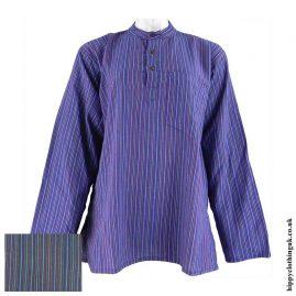 Purple-Nepalese-Cotton-Striped-Grandad-Shirt