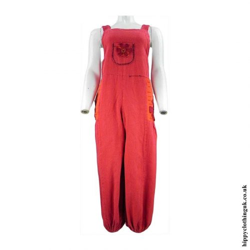 Red-Hippy-Dungarees-with-Flower-Embroidery