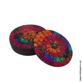 Red-Multicoloured-set-of-6-Mosaic-Coasters