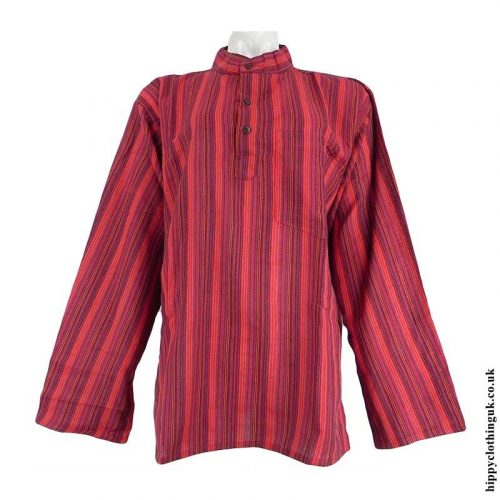 Red-Nepalese-Cotton-Striped-Grandad-Shirt