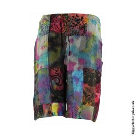Tie-Dye-Patchwork-Long-Shorts