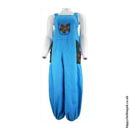 Turquoise-Hippy-Dungarees-with-Flower-Embroidery