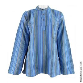 Turquoise-Nepalese-Cotton-Striped-Grandad-Shirt