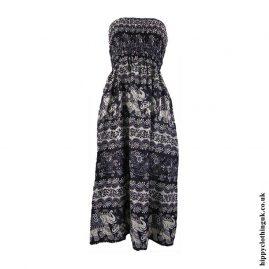 Black-Elephant-Print-Rayon-Maxi-Dress