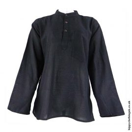 Black-Plain-Grandad-Hippy-Shirts