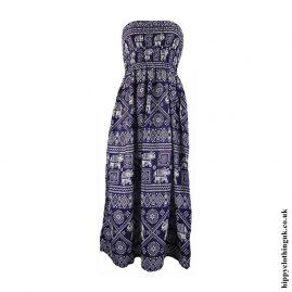 Blue-Elephant-Print-Rayon-Maxi-Dress