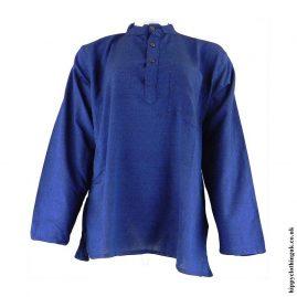 Blue-Plain-Grandad-Hippy-Shirts