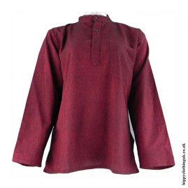 Burgundy-Plain-Grandad-Hippy-Shirts