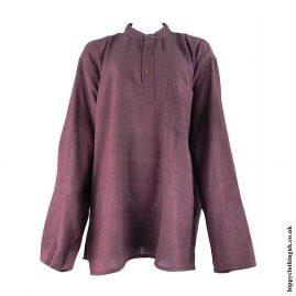 Dark-Burgundy-Plain-Grandad-Hippy-Shirts