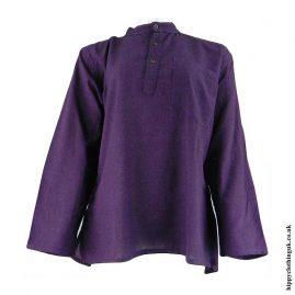 Purple-Plain-Grandad-Hippy-Shirts