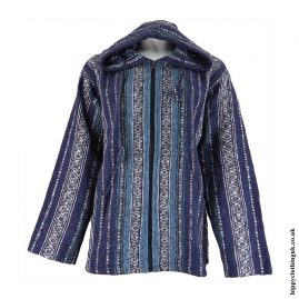 Blue-Thick-Weave-Pixie-Hooded-Jacket