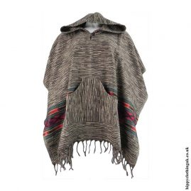 Brown-Acrylic-Wool-Hooded-Poncho