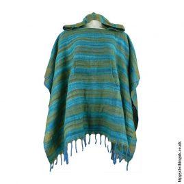 Green-Acrylic-Striped-Poncho
