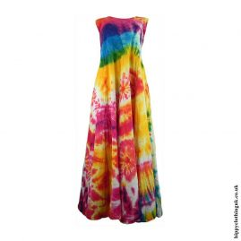 Multicoloured-Tie-Dye-Two-in-One-Cotton-Hippy-Ruffle-Dress