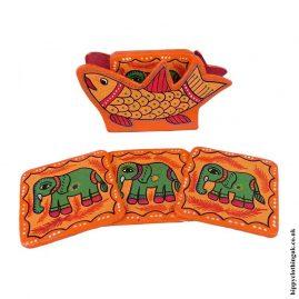 Orange-Hand-Painted-Coasters-in-Holder