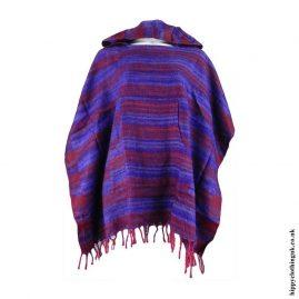 Purple-Acrylic-Striped-Poncho