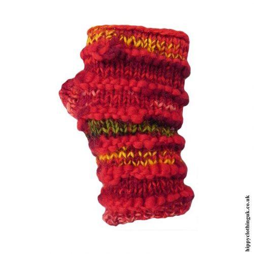 Red-Fleece-Lined-Wool-Wrist-Warmers