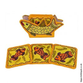 Yellow-Hand-Painted-Coasters-in-Holder