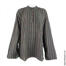 Black-Mix-Nepalese-Cotton-Striped-Grandad-Shirt