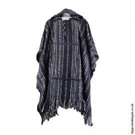 Black-White-Cotton-Thick-Weave-Hippy-Poncho