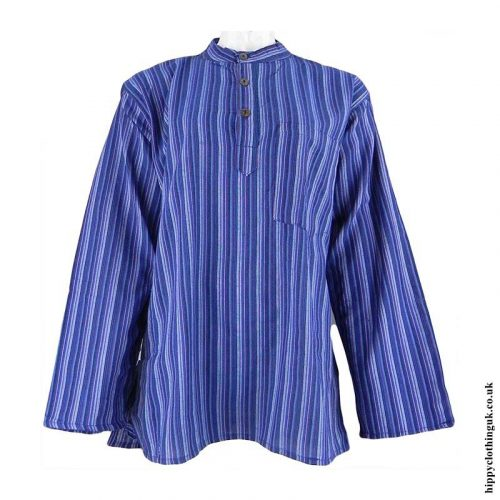 Blue-Nepalese-Cotton-Striped-Grandad-Shirt