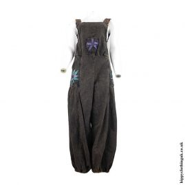 Charcoal-Rust-Hippy-Dungarees-with-Flower-Embroidery