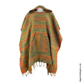 Green-Acrylic-Hooded-Hippy-Poncho