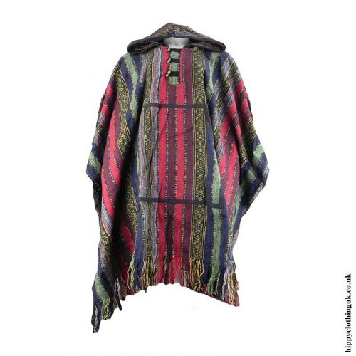 Multicoloured-Cotton-Thick-Weave-Hippy-Poncho
