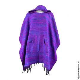 Purple-Acrylic-Hooded-Hippy-Poncho