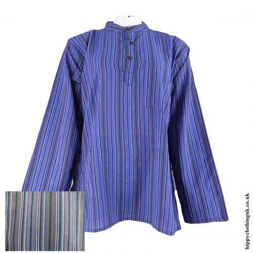 Purple-Nepalese-Cotton-Striped-Grandad-Shirt-a