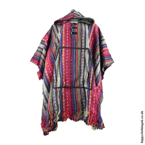 Red-Cotton-Thick-Weave-Hippy-Poncho