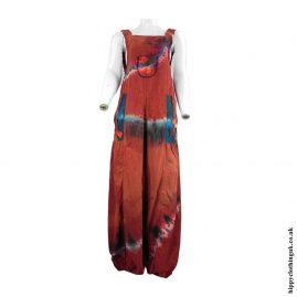 Red-Tie-Dye-Hippy-Patchwork-Dungarees