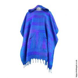 Turquoise-Acrylic-Hooded-Hippy-Poncho
