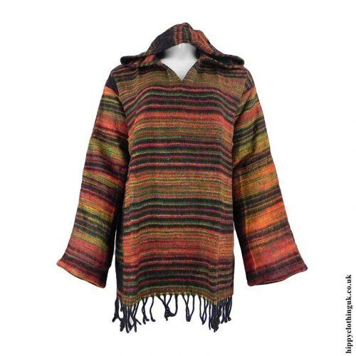 Black-Orange-Acrylic-Wool-Hooded-Top