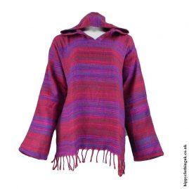 Burgundy-Acrylic-Wool-Hooded-Top