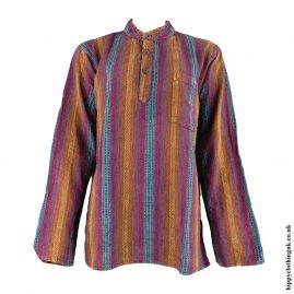 Multicoloured-Collarless-Hippy-Grandad-Shirt