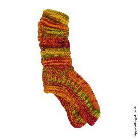 Orange-Long-Fleece-Lined-Wool-Socks