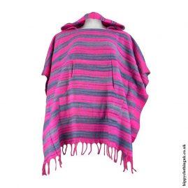 Pink-Acrylic-Striped-Poncho