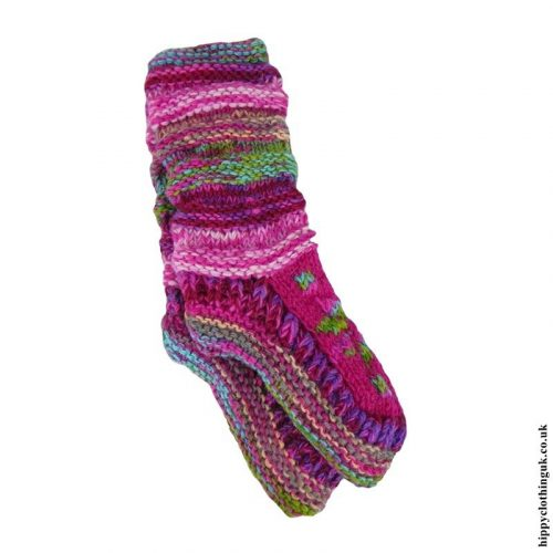 Pink-Long-Fleece-Lined-Wool-Socks